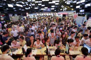 Queues in one of Chinese cinemas in Wuhan